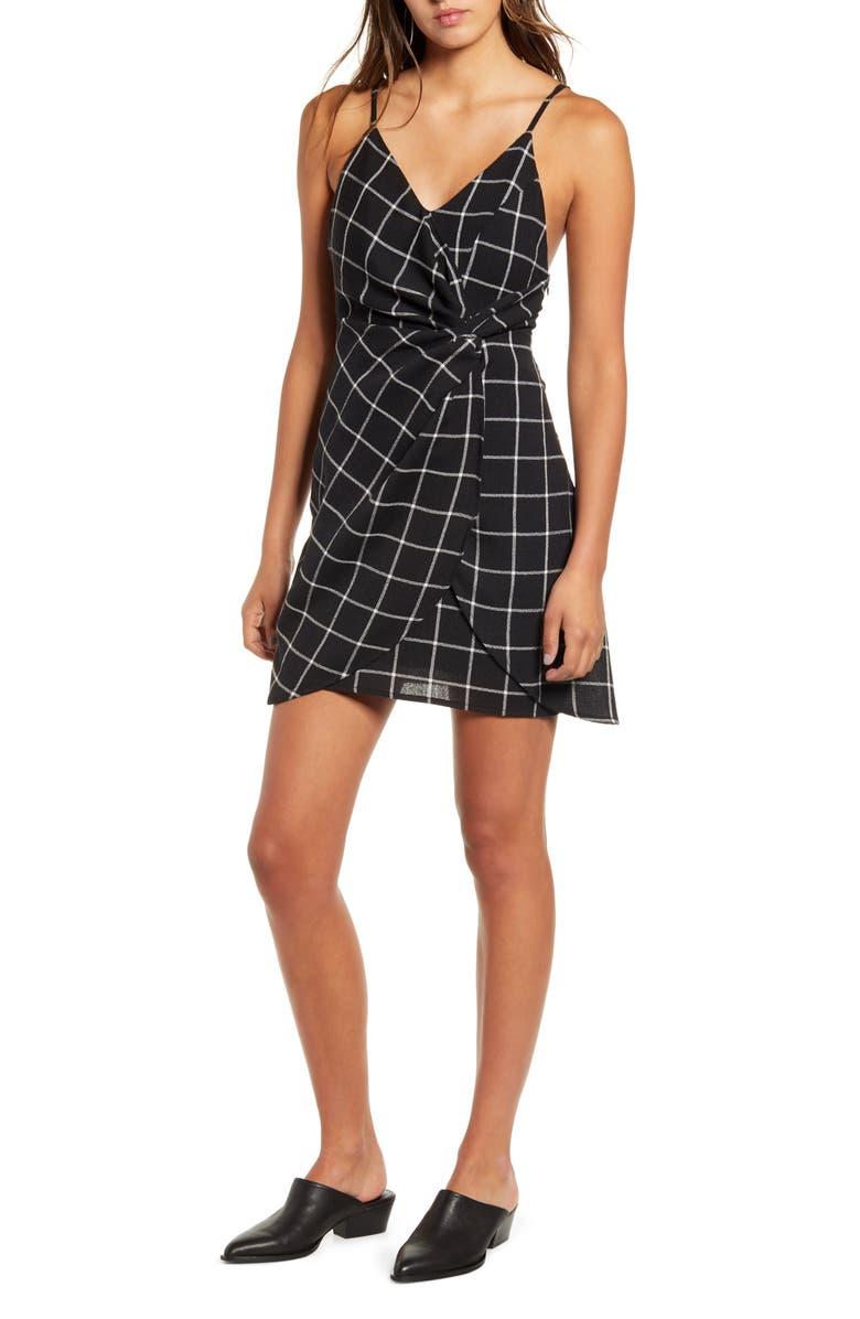 LIRA CLOTHING Bristol Check Faux Wrap Minidress, Main, color, BLACK