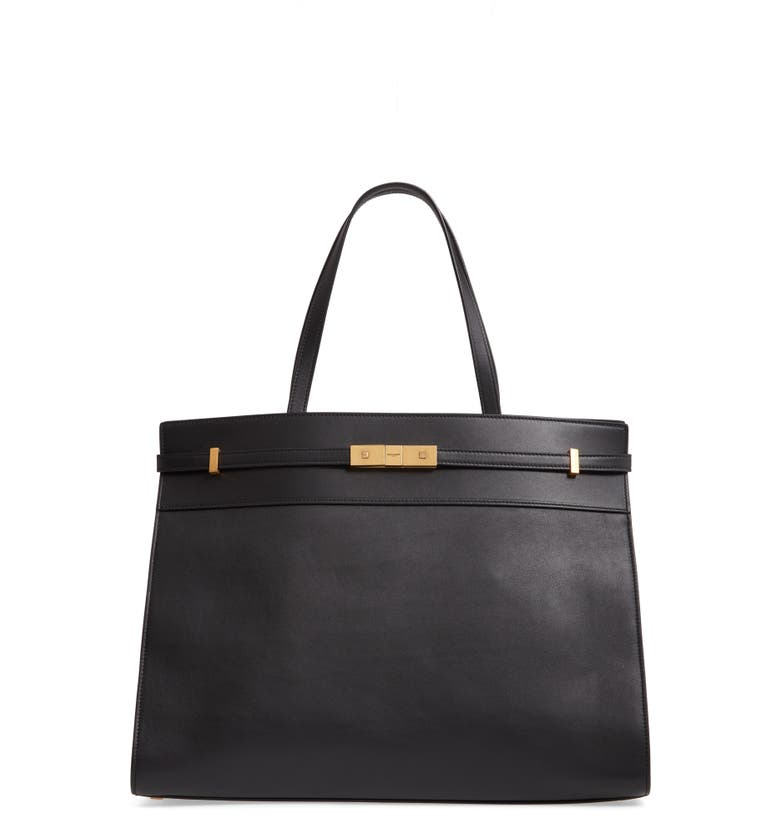 SAINT LAURENT Medium Manhattan Leather Satchel, Main, color, NOIR