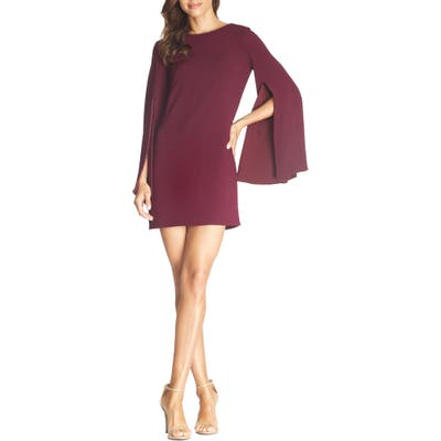 Dress The Population Lillie Long Cape Sleeve Minidress, Red