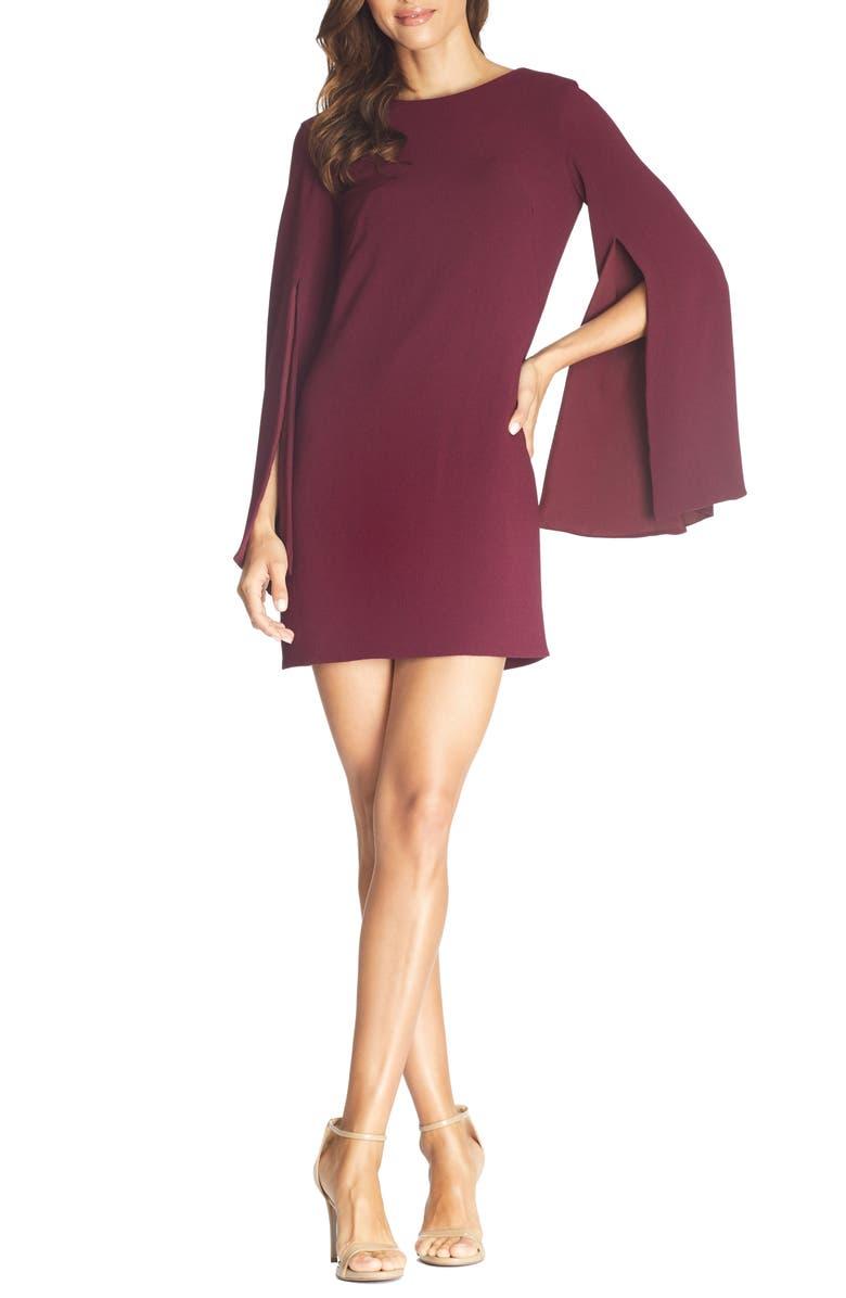 DRESS THE POPULATION Lillie Long Cape Sleeve Minidress, Main, color, BURGUNDY