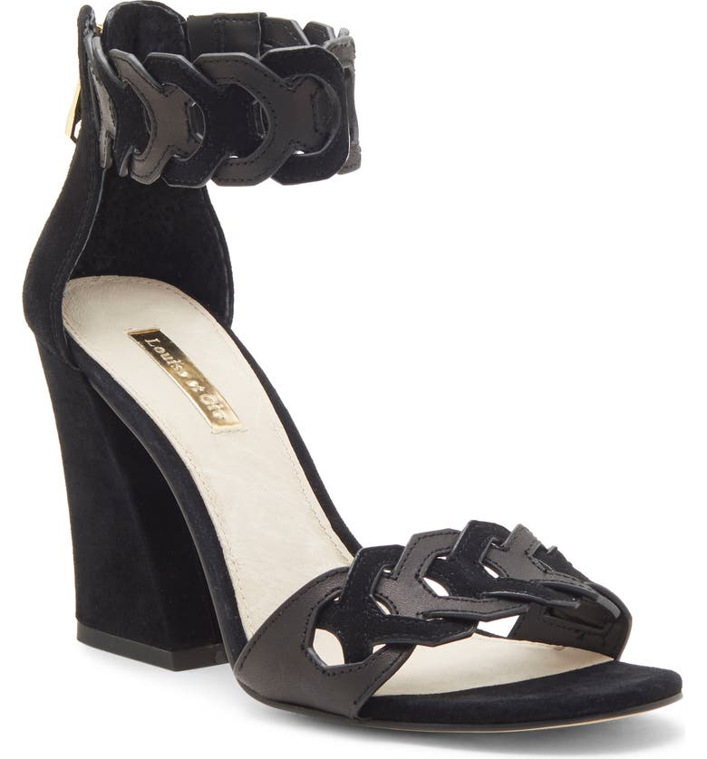 LOUISE ET CIE Kaitlee Ankle Strap Sandal, Main, color, BLACK LEATHER
