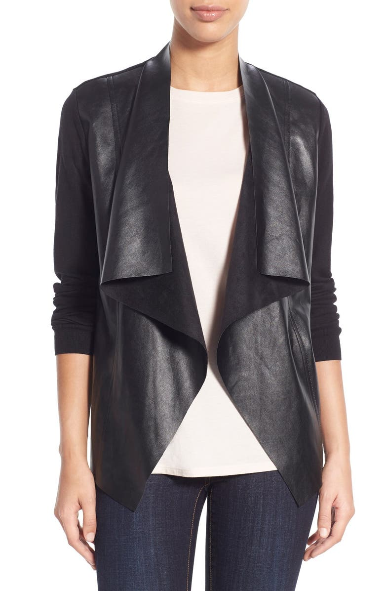 MICHAEL MICHAEL KORS Faux Leather & Knit Cardigan, Main, color, 001