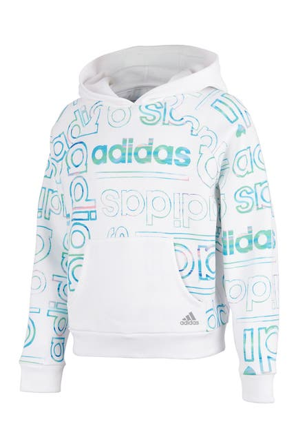 Image of adidas Long Sleeve Print Fleece Hooded Pullover