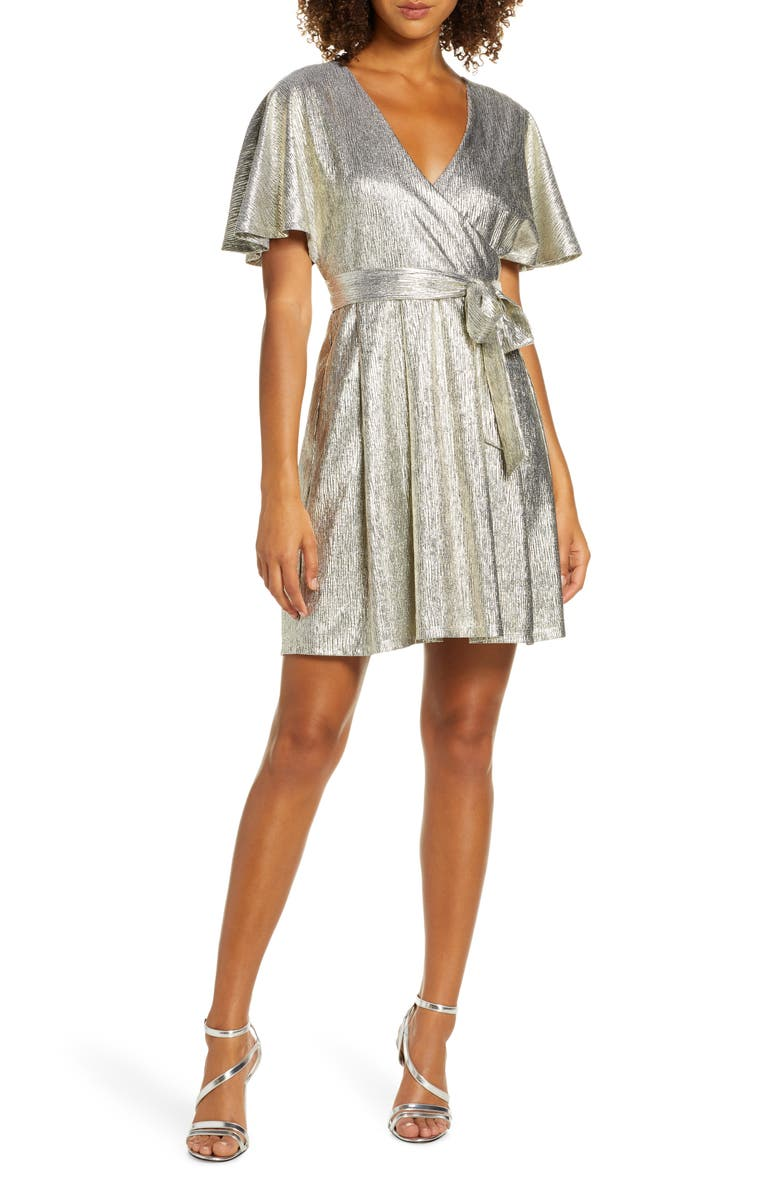 EVER NEW Metallic Short Sleeve Faux Wrap Dress, Main, color, METALLIC