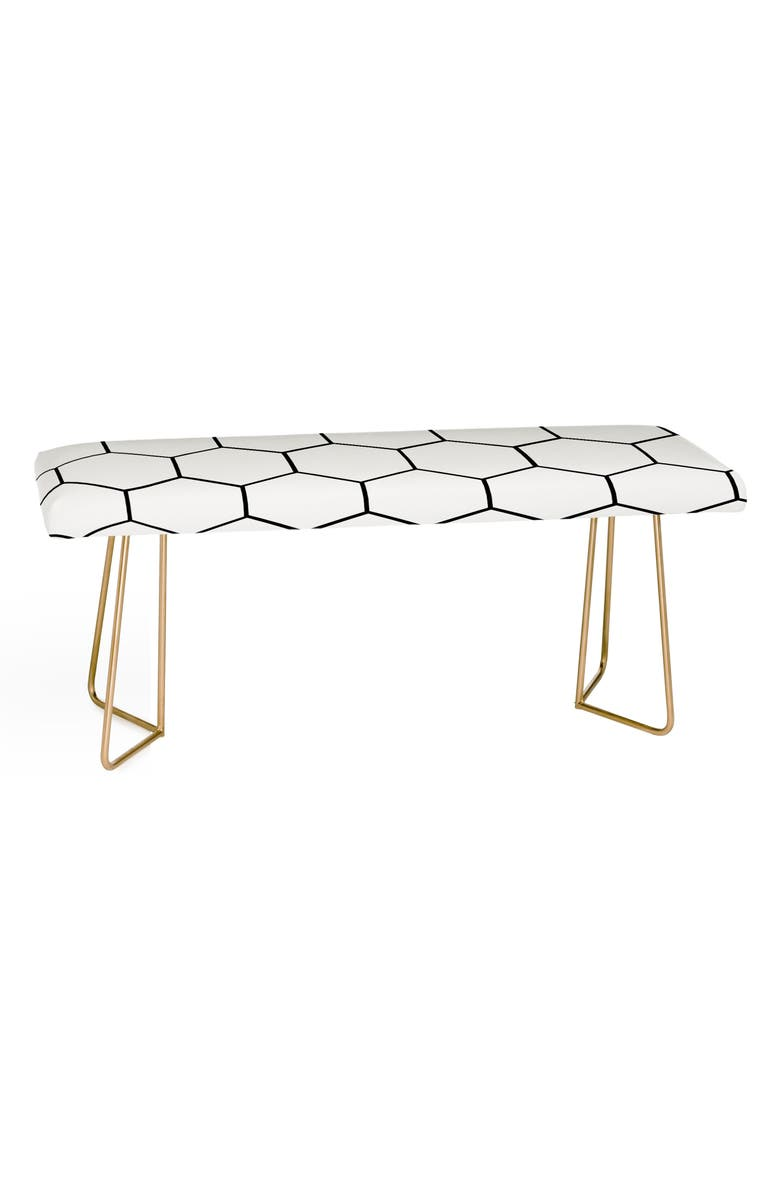 DENY DESIGNS Allyson Johnson Honeycomb Bench, Main, color, WHITE