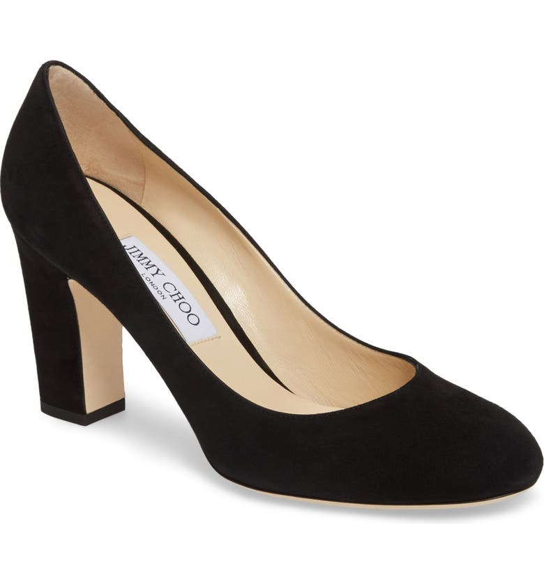 JIMMY CHOO Billie Block Heel Pump, Main, color, BLACK