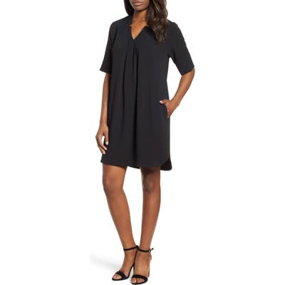 Petite Bobeau Pleat Front Curved Hem Shirtdress, Black