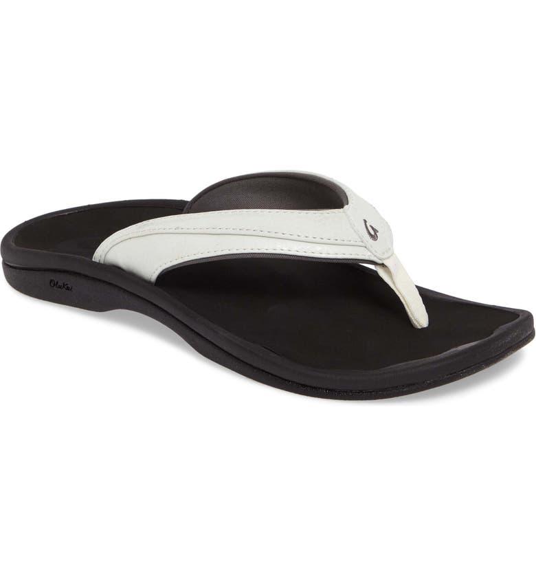 OLUKAI Ohana Flip Flop, Main, color, WHITE/ BLACK FAUX LEATHER