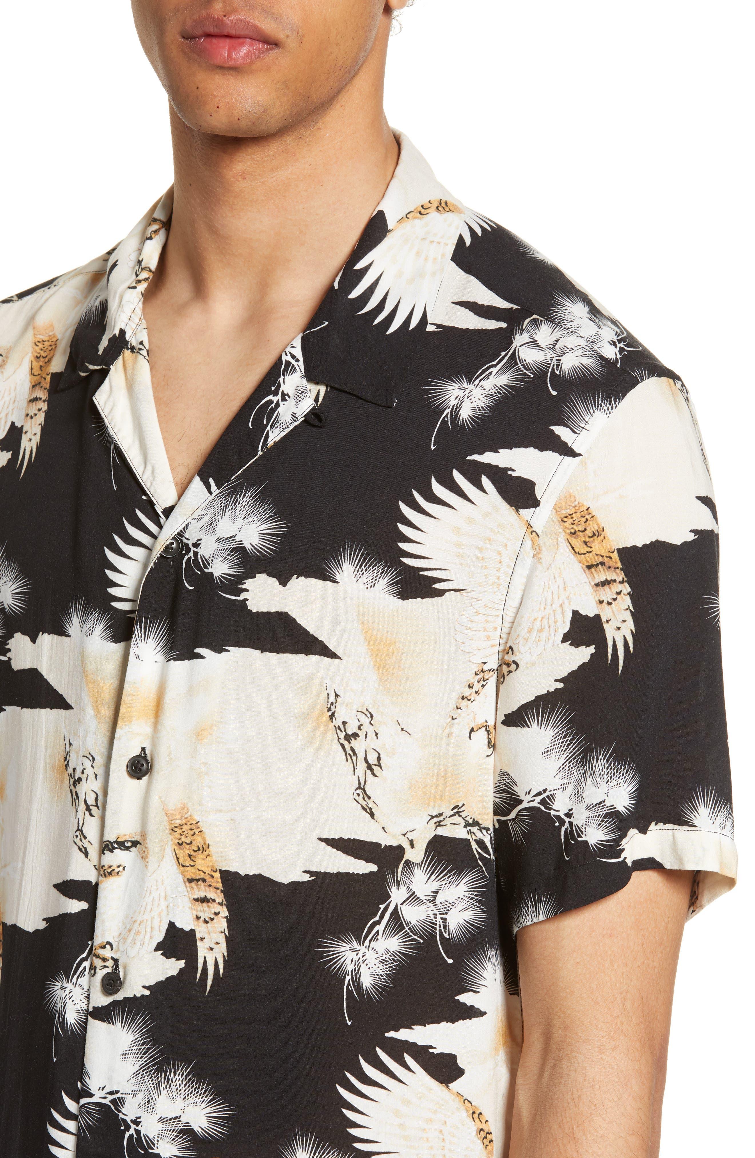 Allsaints T-shirts Layback Slim Fit Print Camp Shirt