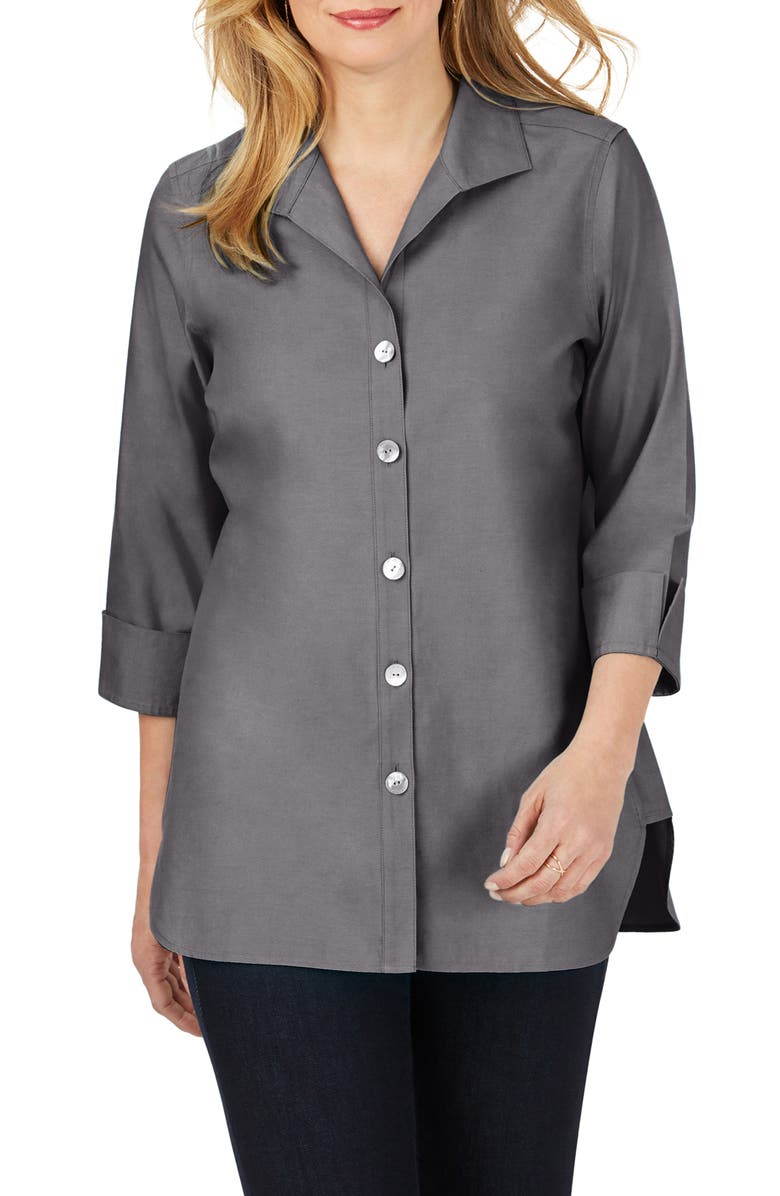FOXCROFT Pandora Non-Iron Cotton Shirt, Main, color, CHARCOAL