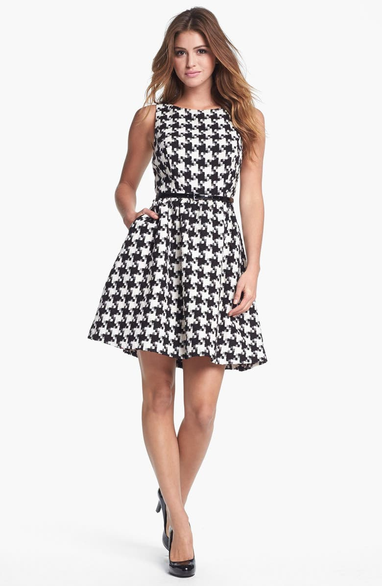 JESSICA SIMPSON Houndstooth Jacquard Fit & Flare Dress, Main, color, 011