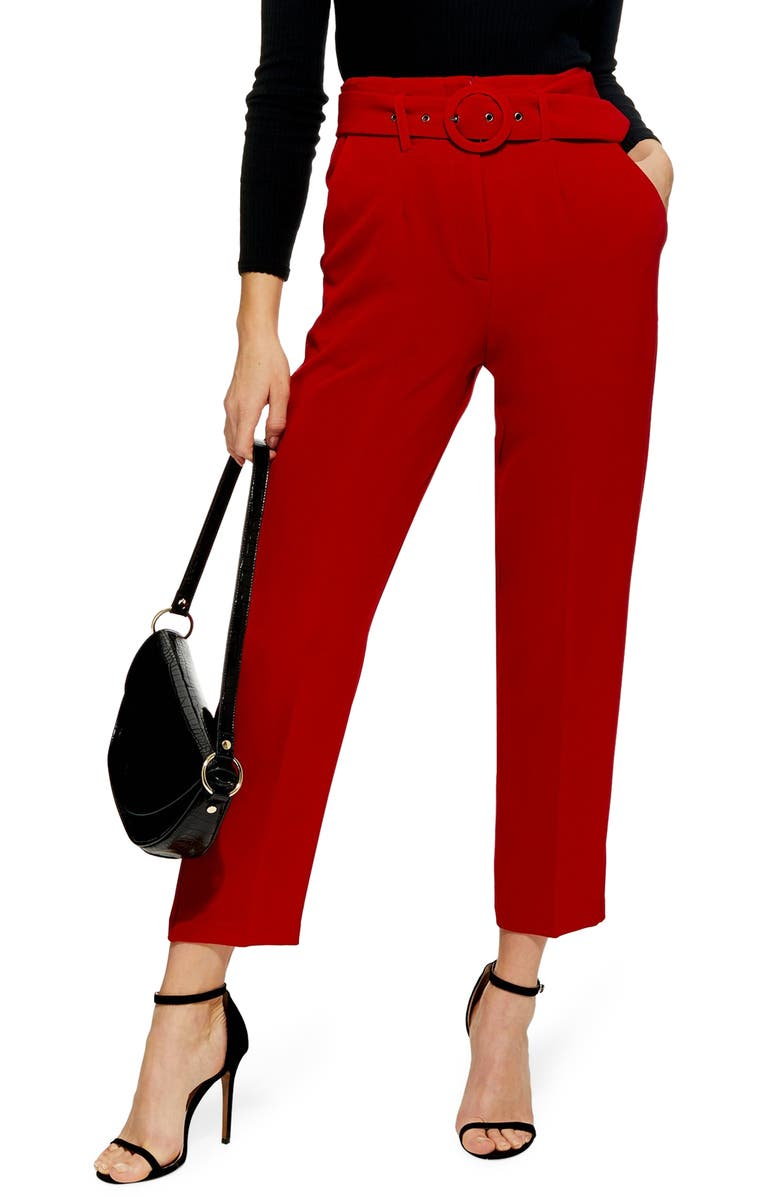 TOPSHOP Ayla Belted Eyelet Trouser, Main, color, RED