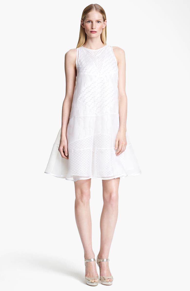 MISSONI Organza Overlay Lace Stitch Knit Dress, Main, color, 100