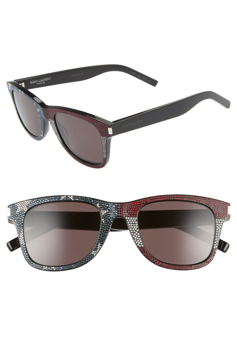 SAINT LAURENT 50mm Square Sunglasses, Main, color, BLACK W/ CRYS BLUE RED/ GREY