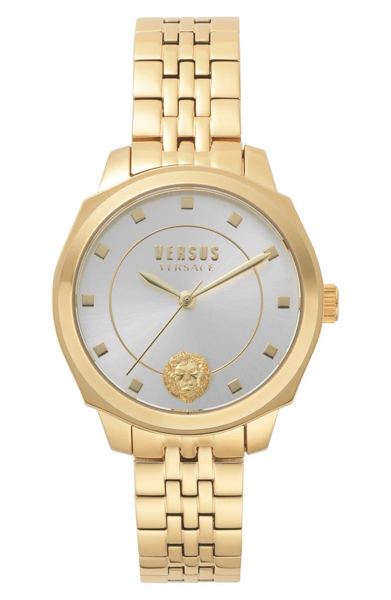 VERSUS VERSACE Chelsea Bracelet Watch, 34mm, Main, color, GOLD/ SILVER/ GOLD