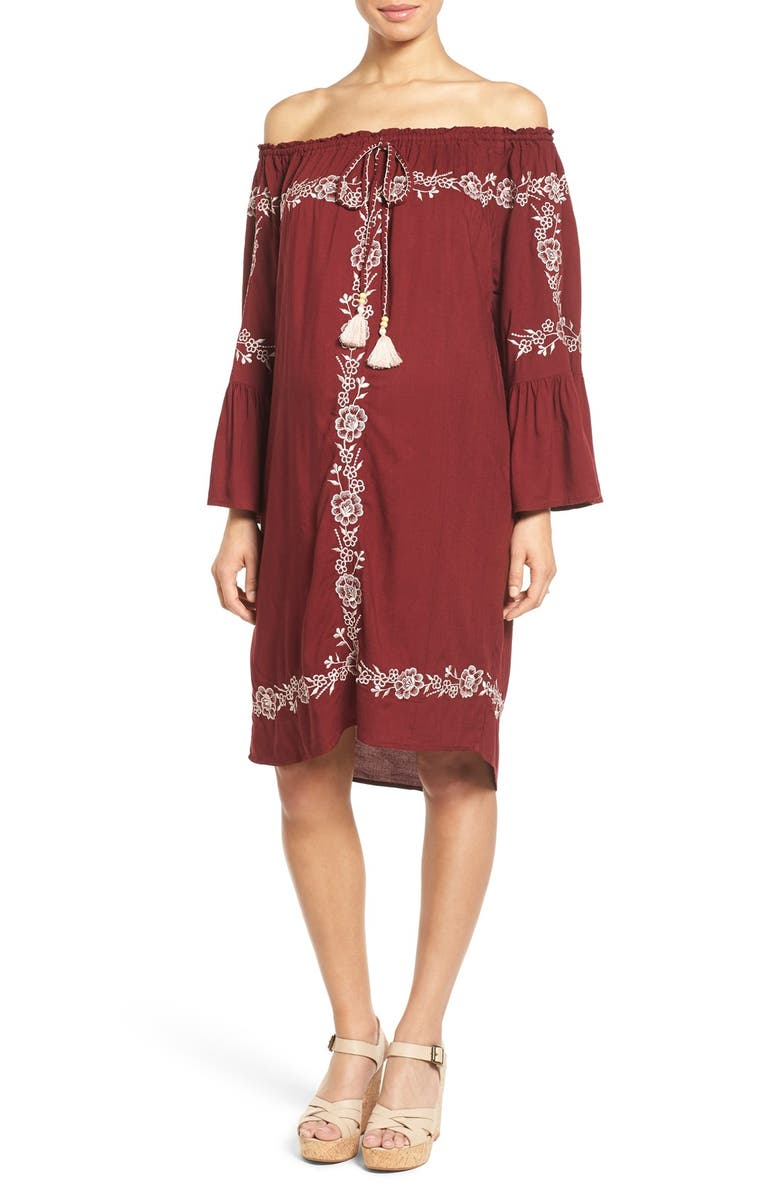 FILLYBOO 'Finding California' Embroidered Off the Shoulder Maternity Dress, Main, color, 931