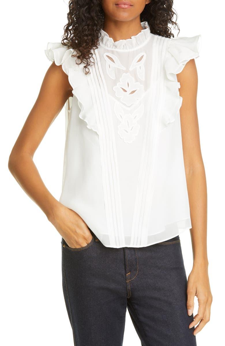 REBECCA TAYLOR Hana Embroidered Ruffle Sleeve Silk Top, Main, color, 100