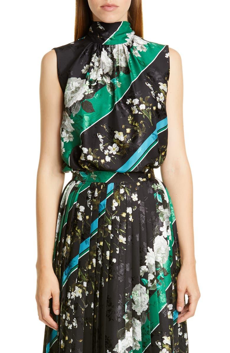 ERDEM Floral Stripe Tie Neck Top, Main, color, BLACK / WHITE
