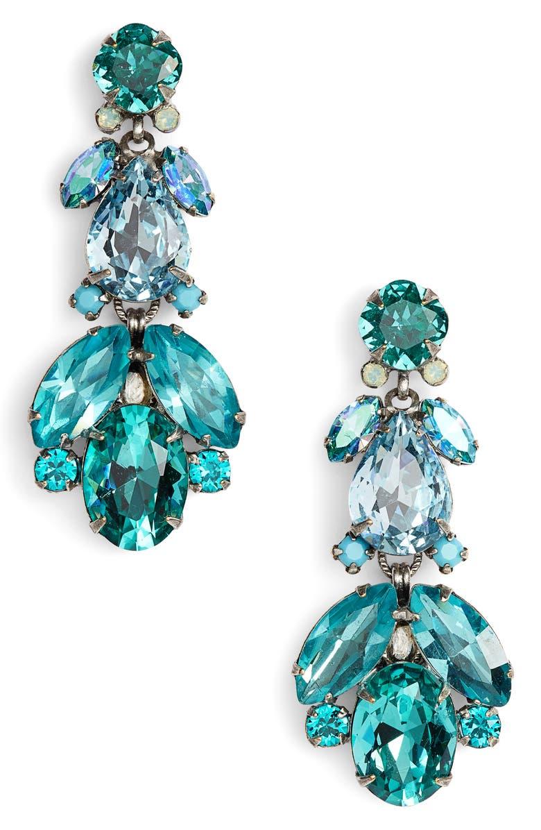 SORRELLI Pine Crystal Drop Earrings, Main, color, BLUE-GREEN