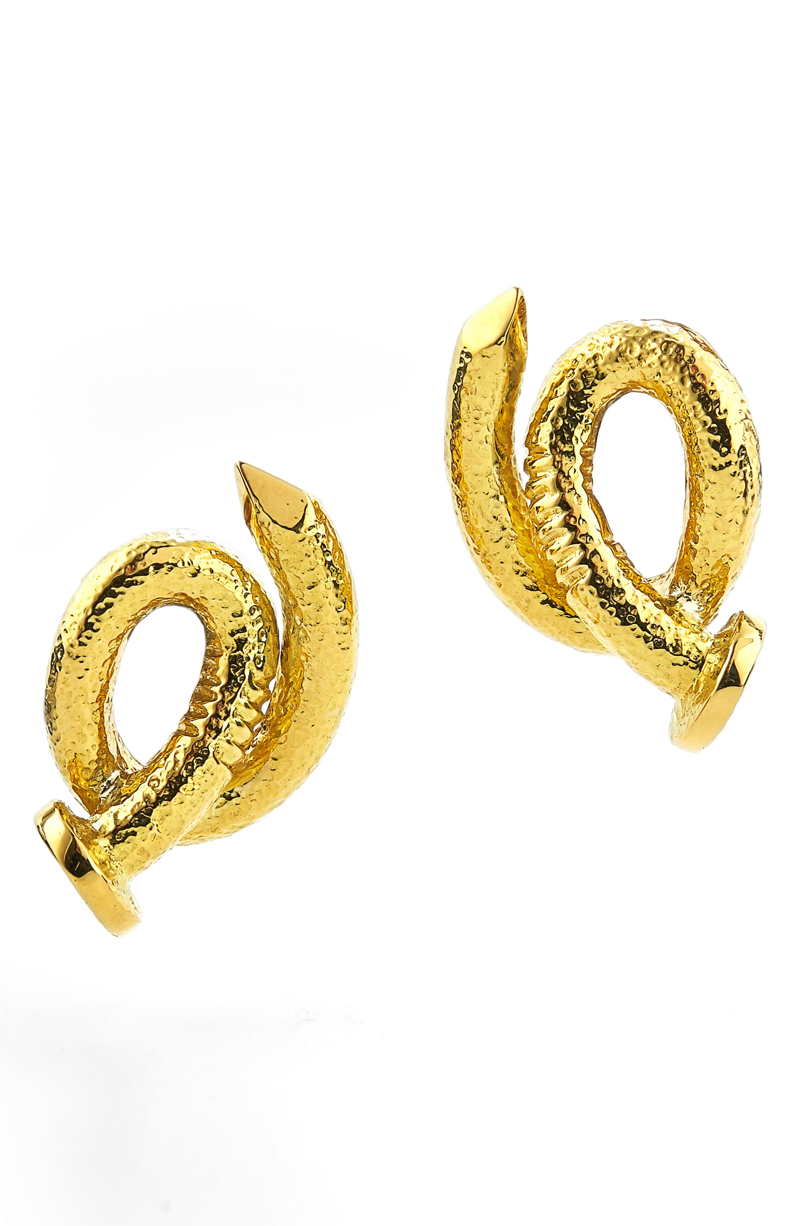 Hammered Bent Nail Stud Earrings