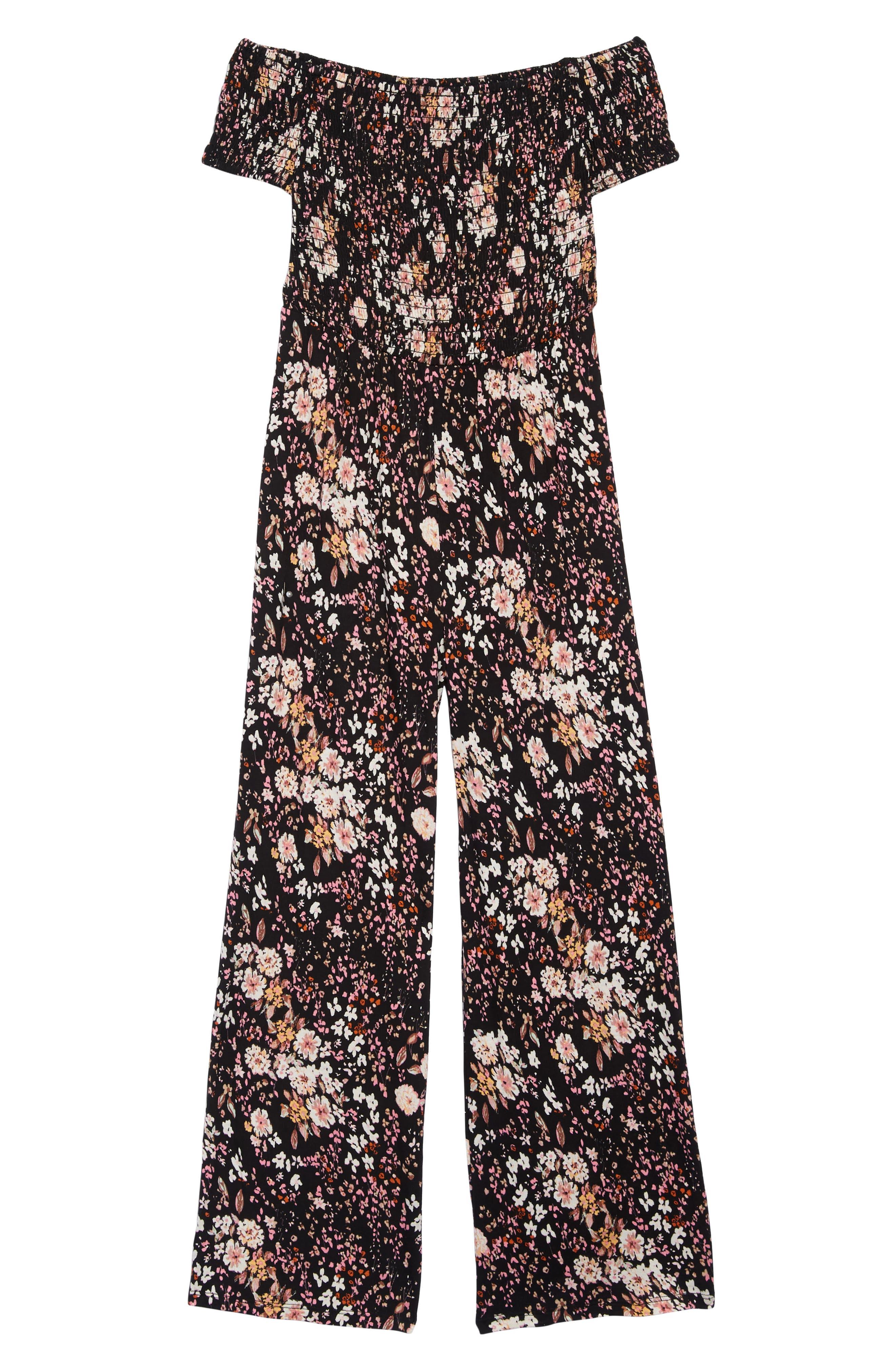 ,                             Off the Shoulder Knit Jumpsuit,                             Main thumbnail 1, color,                             BLACK FLORAL