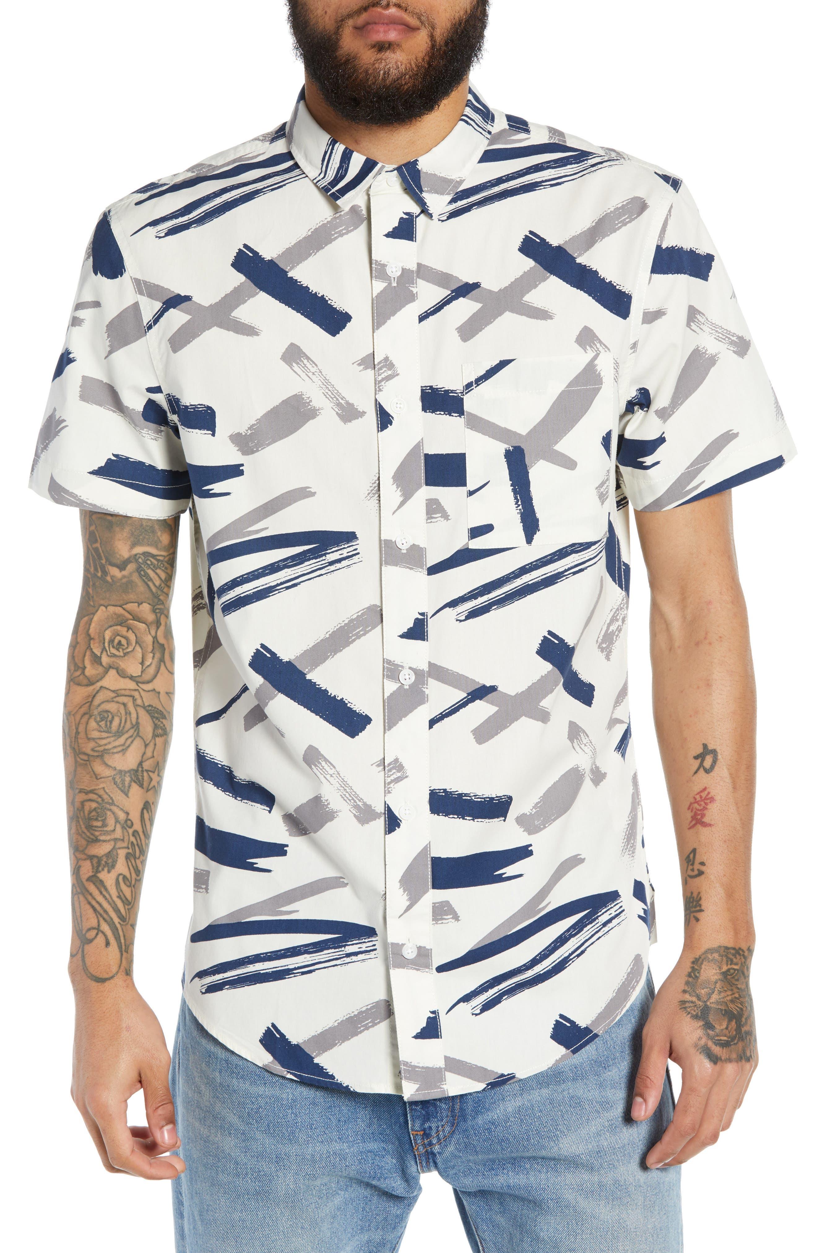 Print Woven Shirt, Main, color, WHITE GARDENIA BRUSHED INK