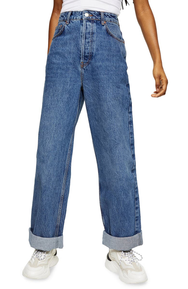 TOPSHOP Oversize High Waist Mom Jeans, Main, color, MID DENIM