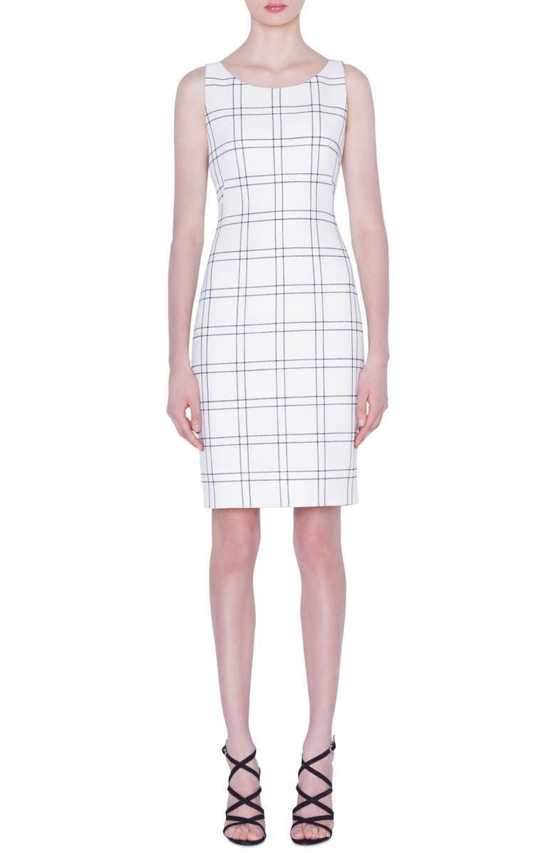 AKRIS Windowpane Double Face Crepe Sheath Dress, Main, color, BLACK-SWAN