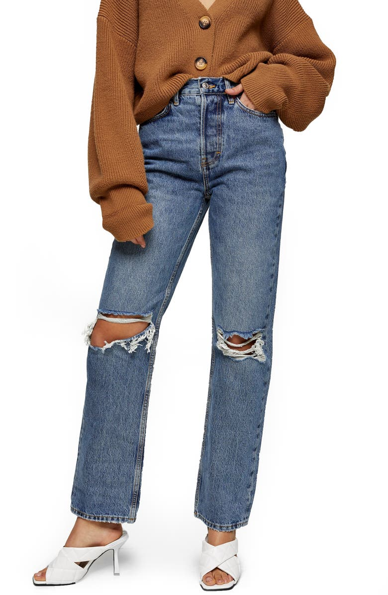 TOPSHOP Ripped Dad Jeans, Main, color, MID DENIM
