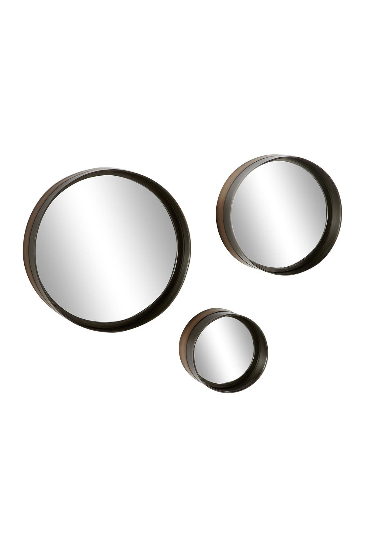 Willow Row Round Black And Bronze Rimmed Metal Wall Mirrors Set Of 3 16 12 8 Nordstrom Rack