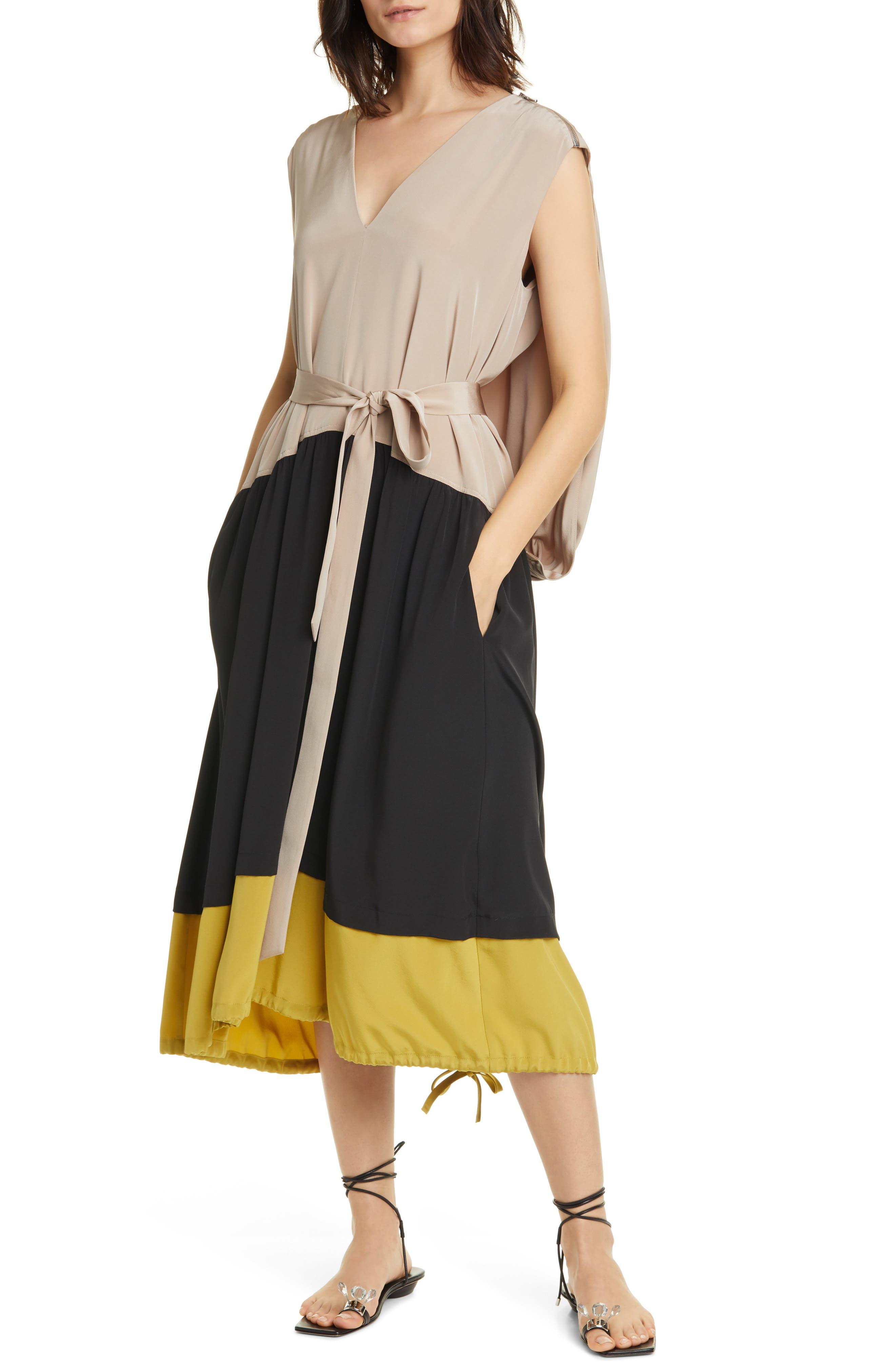 Image of Tibi Cape Back Silk Midi Dress