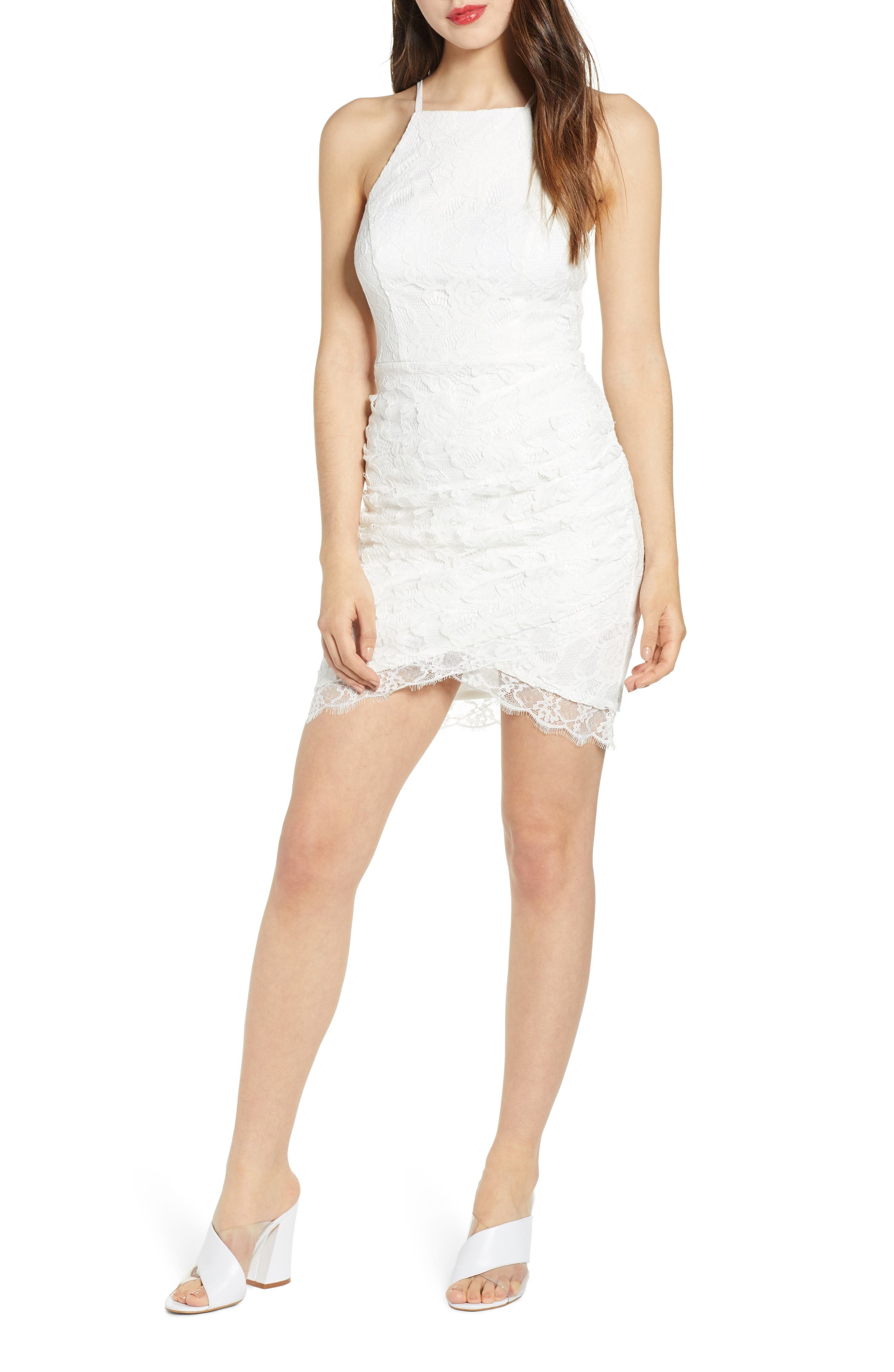 Speechless Floral Lace Asymmetrical Minidress, Ivory
