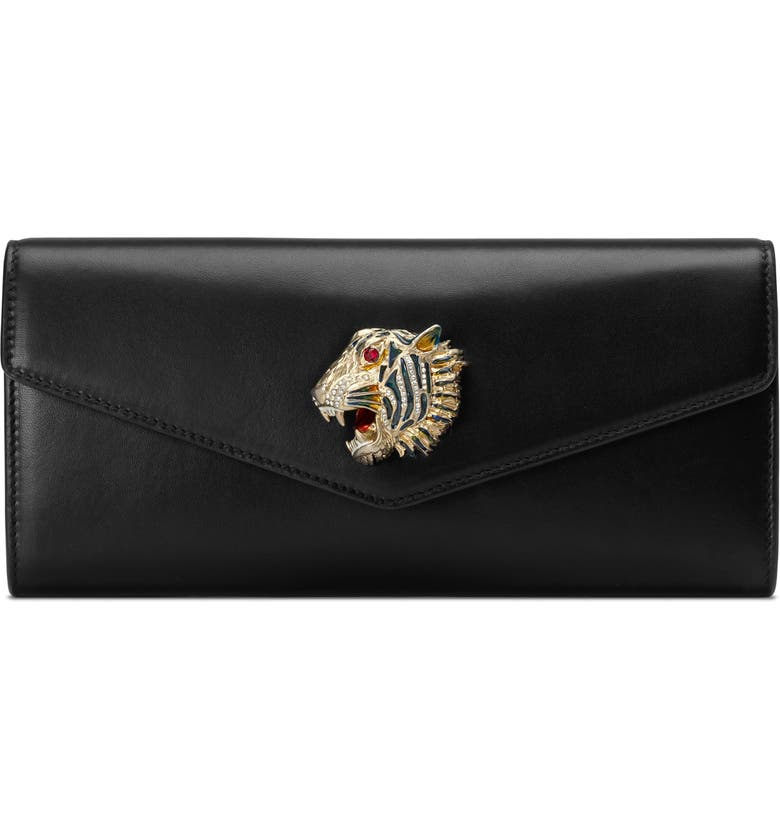 GUCCI Broadway Leather Clutch, Main, color, BLACK MULTI