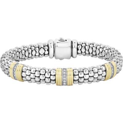 Lagos Fluted & Diamond Station Bracelet