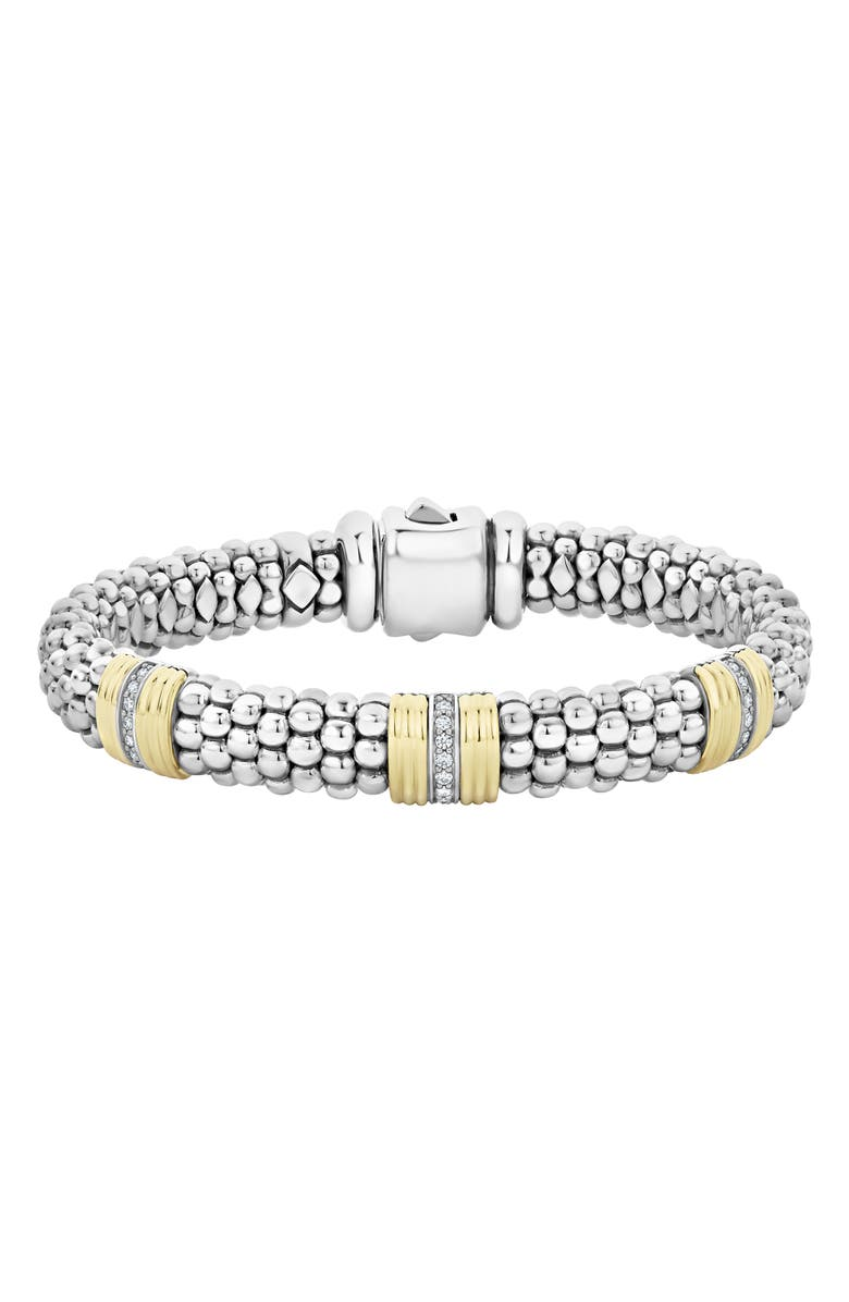 LAGOS Fluted & Diamond Station Bracelet, Main, color, 040