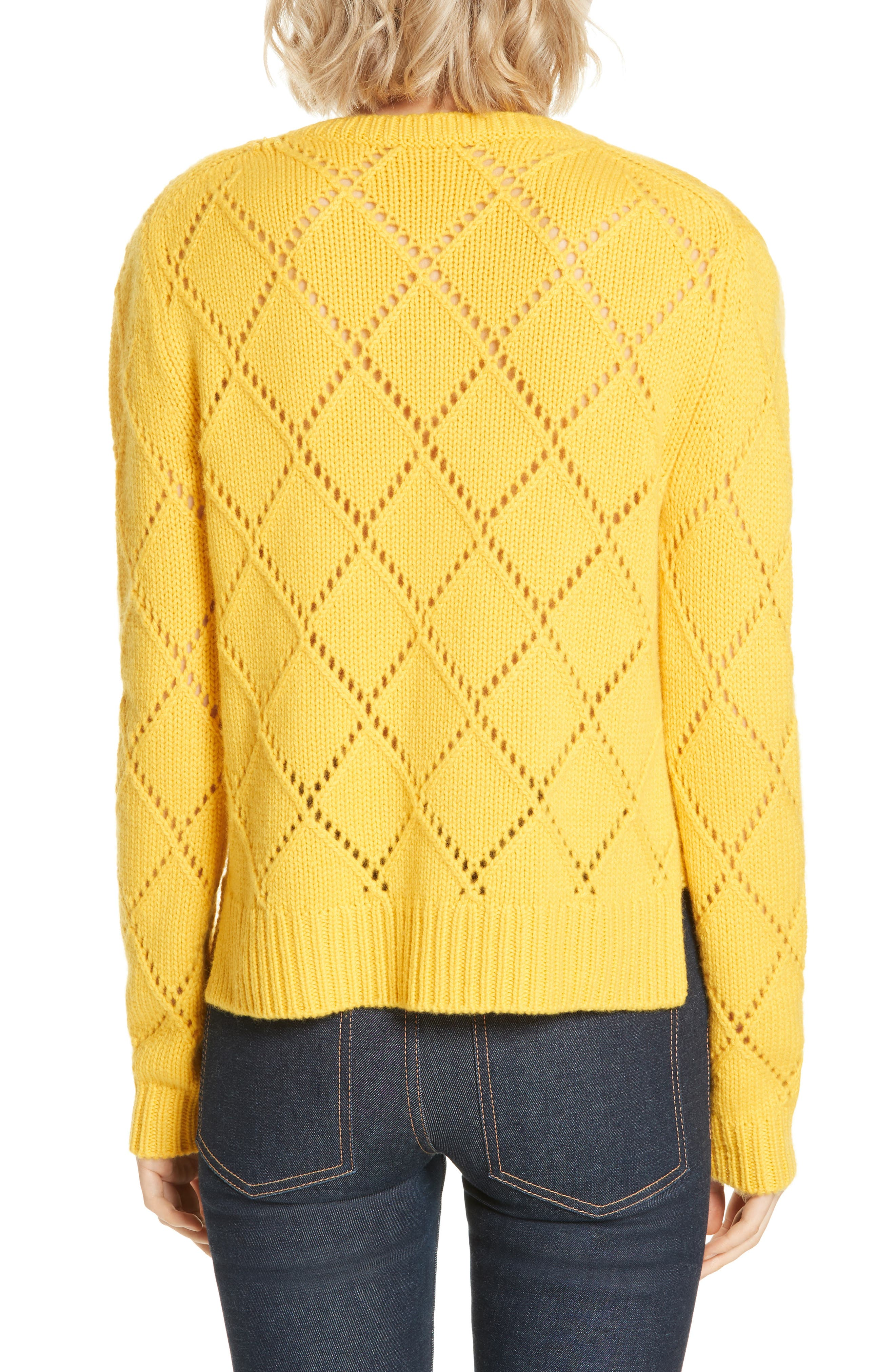 ,                             Cashmere Textured Harlequin Sweater,                             Alternate thumbnail 2, color,                             YELLOW