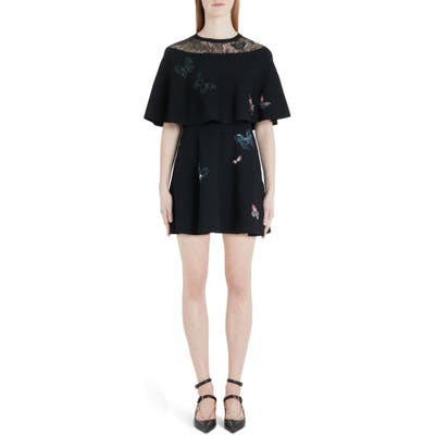 Valentino Embroidered Butterfly Lace Panel Minidress