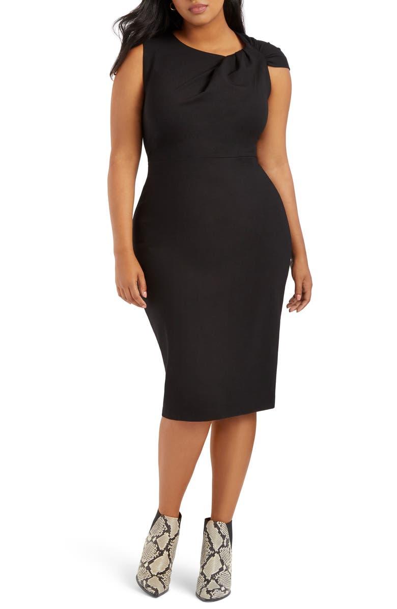 ELOQUII Shoulder Twist Ponte Knit Sheath Dress, Main, color, 001