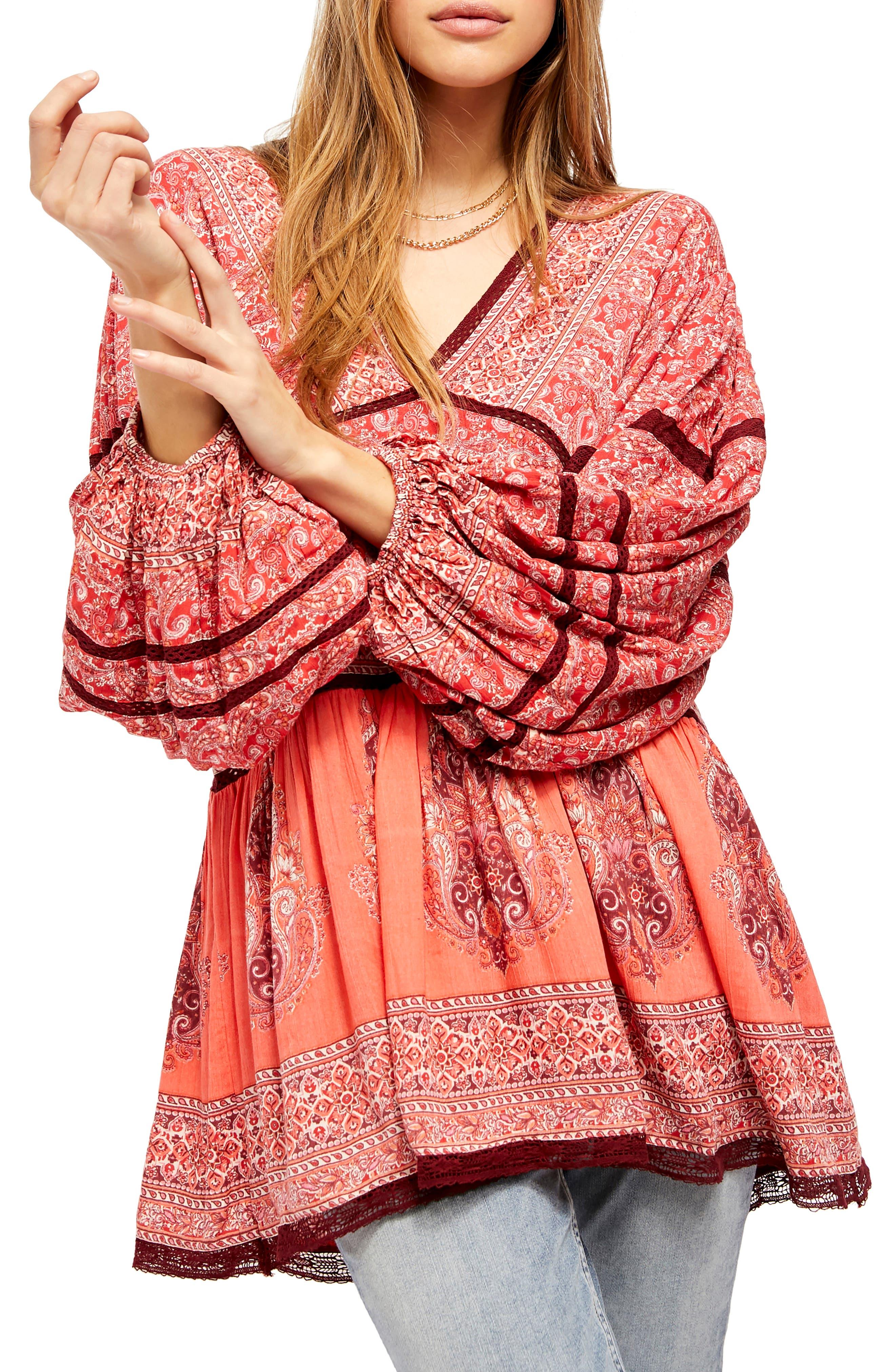 Image of Free People Luna Scarf Print Tunic Blouse