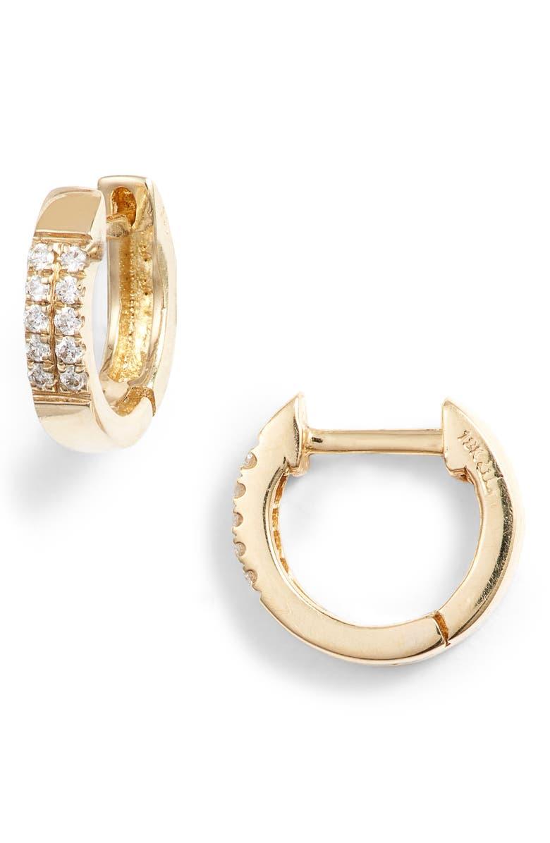 BONY LEVY Diamond Huggie Hoop Earrings, Main, color, GOLD/ DIAMOND