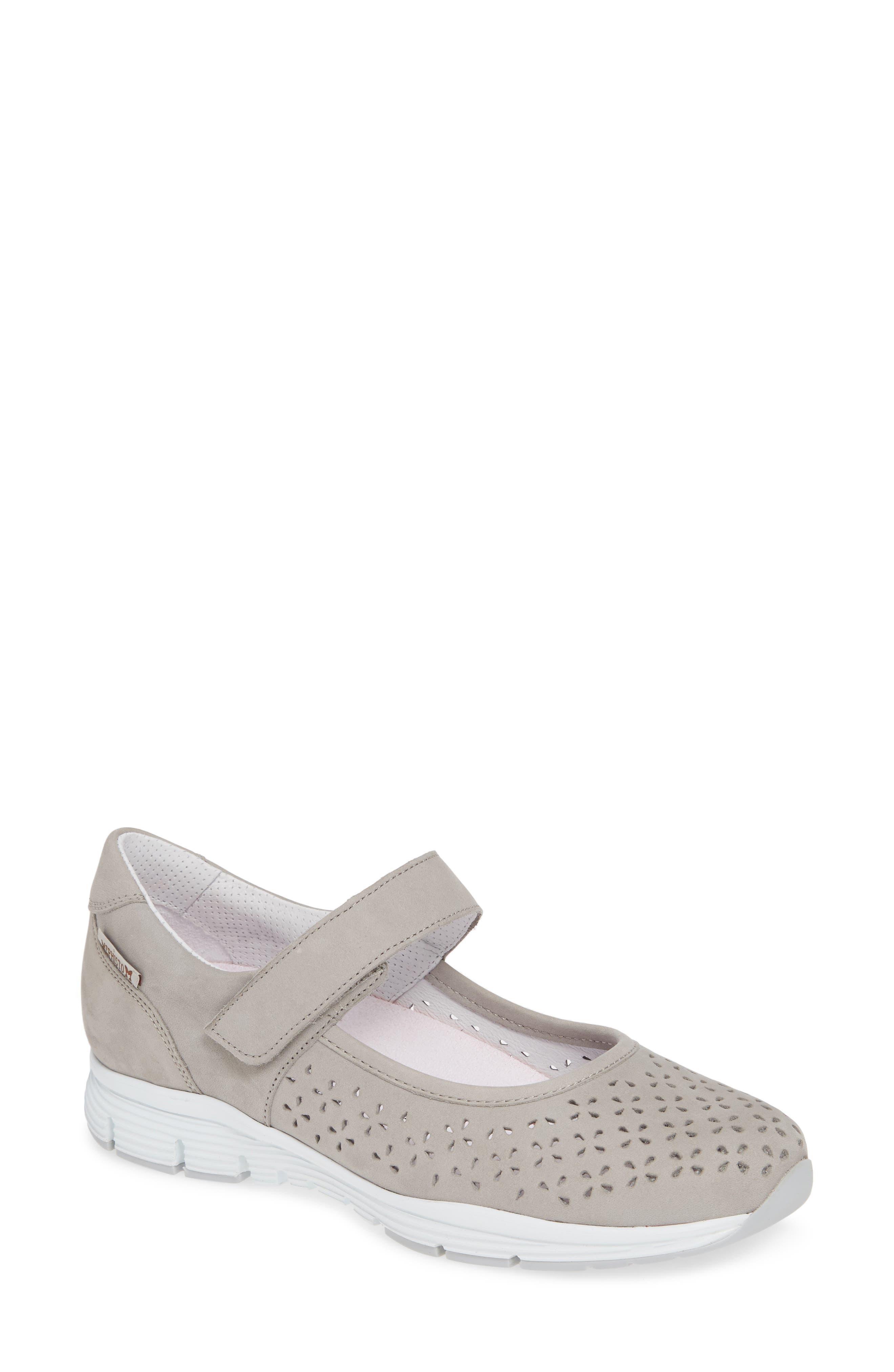 Mephisto Yelina Perforated Mary Jane Sneaker, Grey