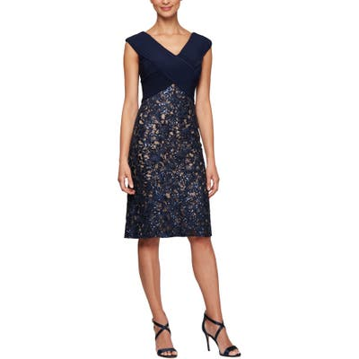 Petite Alex Evenings Pleat & Sequin Lace Cocktail Dress, Blue