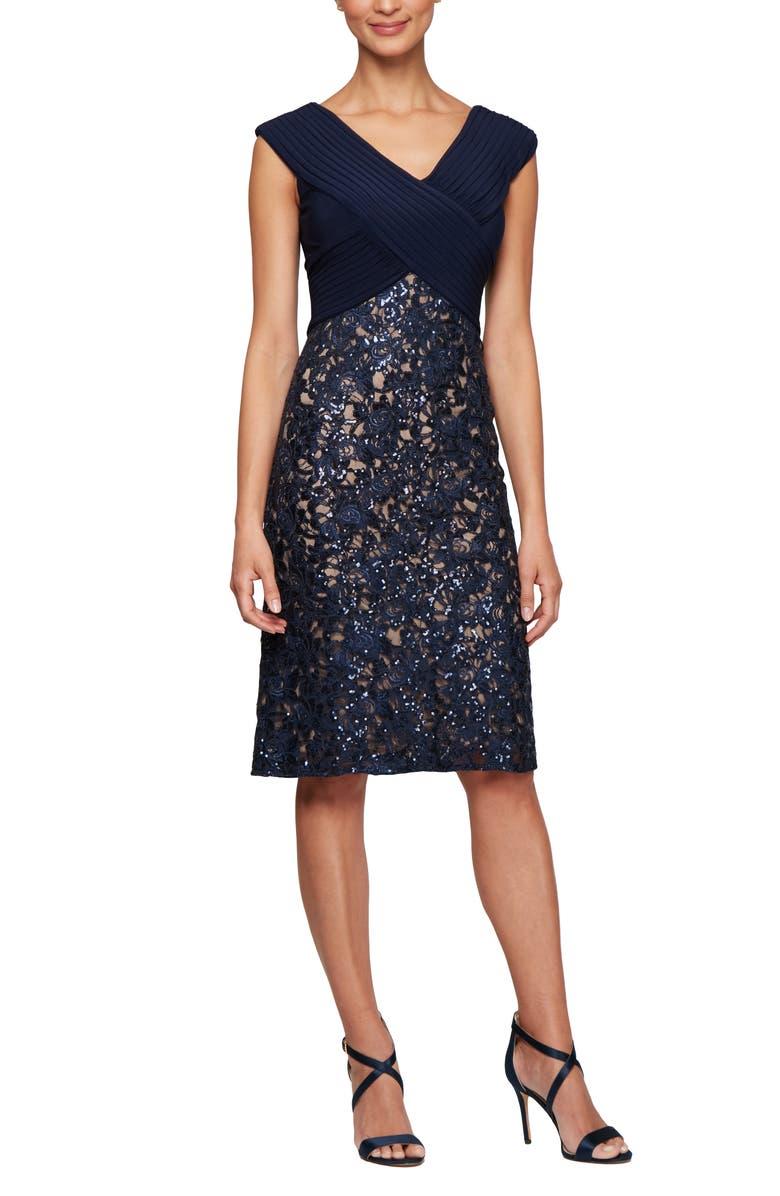 ALEX EVENINGS Pleat & Sequin Lace Shift Dress, Main, color, 410