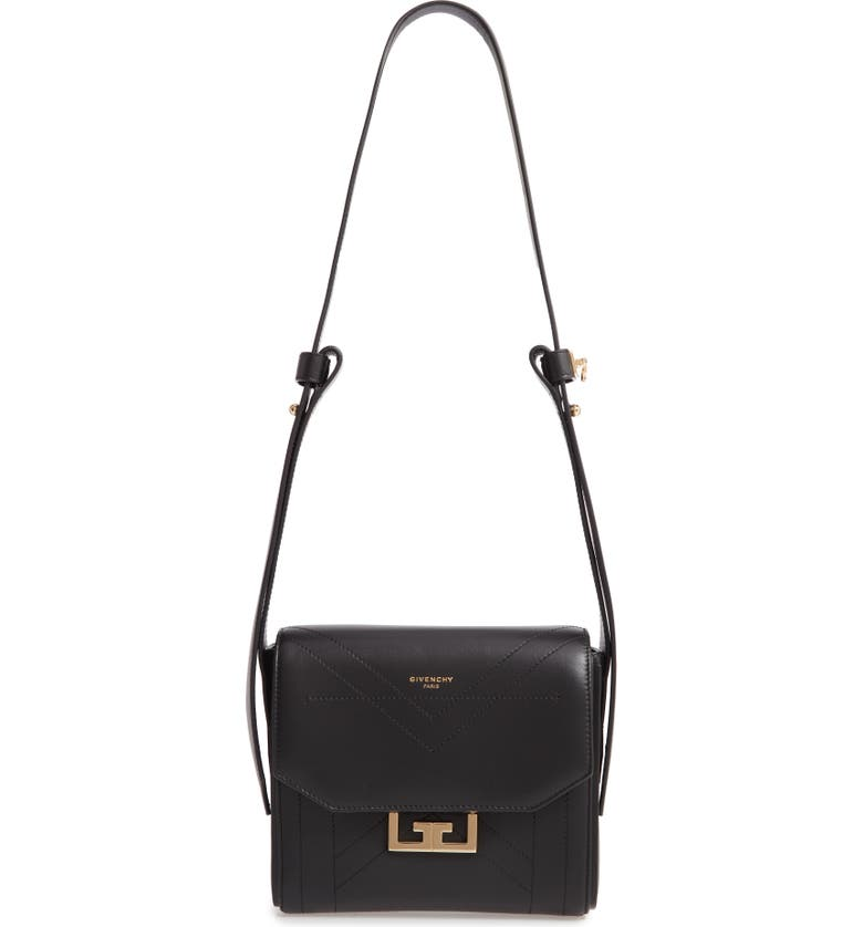 GIVENCHY Small Eden Stitched Lambskin Leather Shoulder Bag, Main, color, BLACK