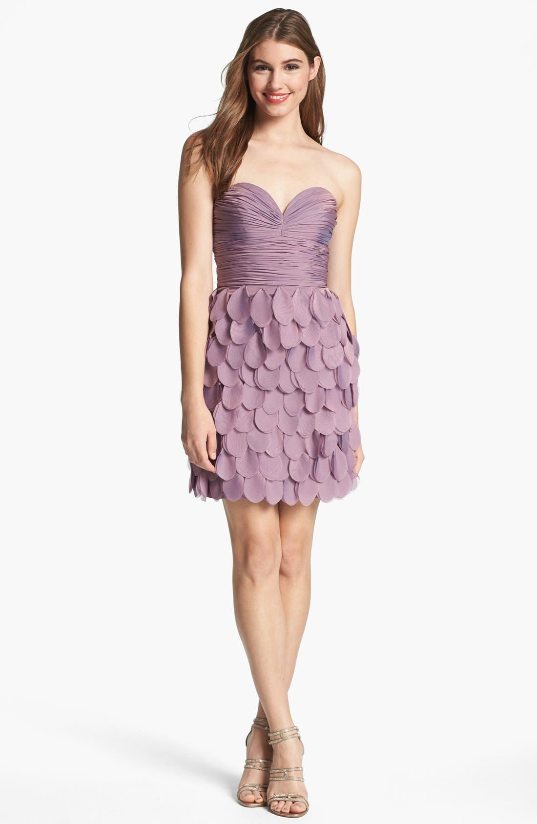 ,                             Strapless Tiered Cocktail Dress,                             Main thumbnail 1, color,                             531