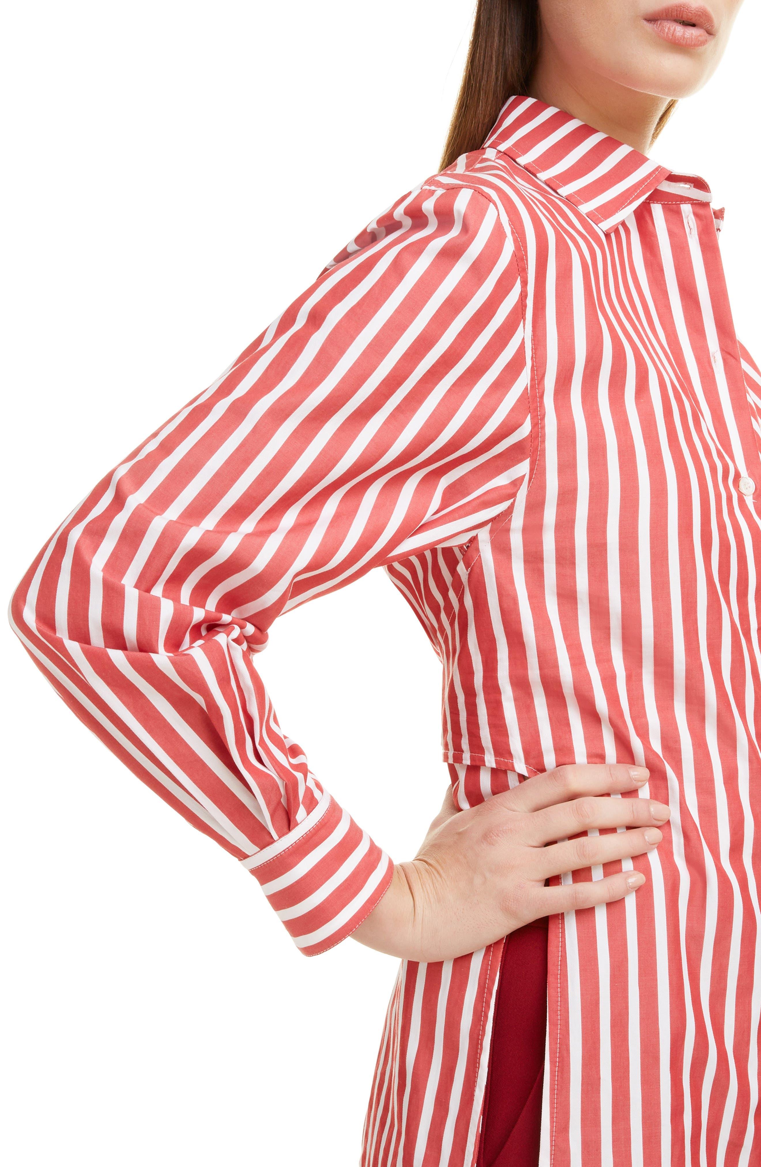 ,                             Side Split Martingale Shirt,                             Alternate thumbnail 4, color,                             RED-WHITE