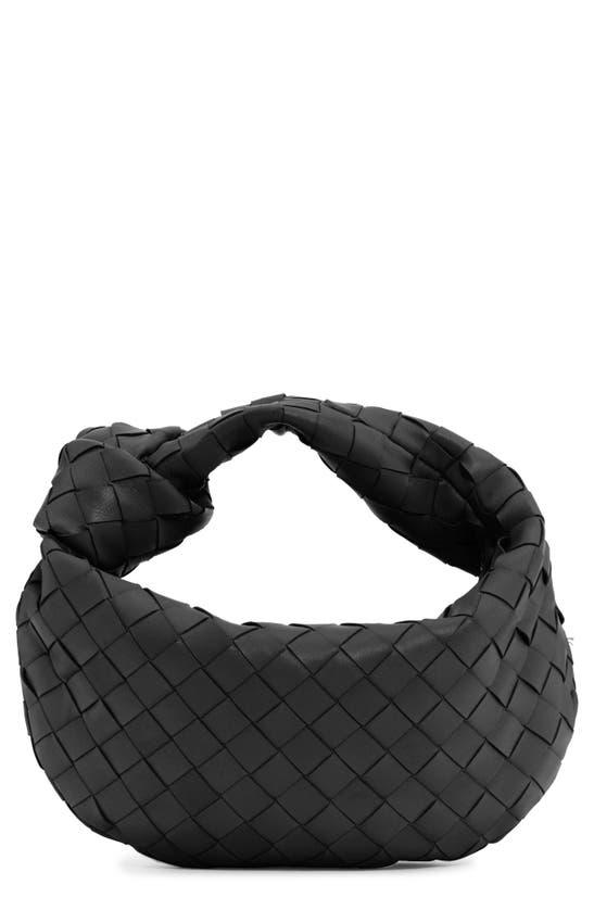 Bottega Veneta Mini Jodie Leather Hobo In Black/ Silver