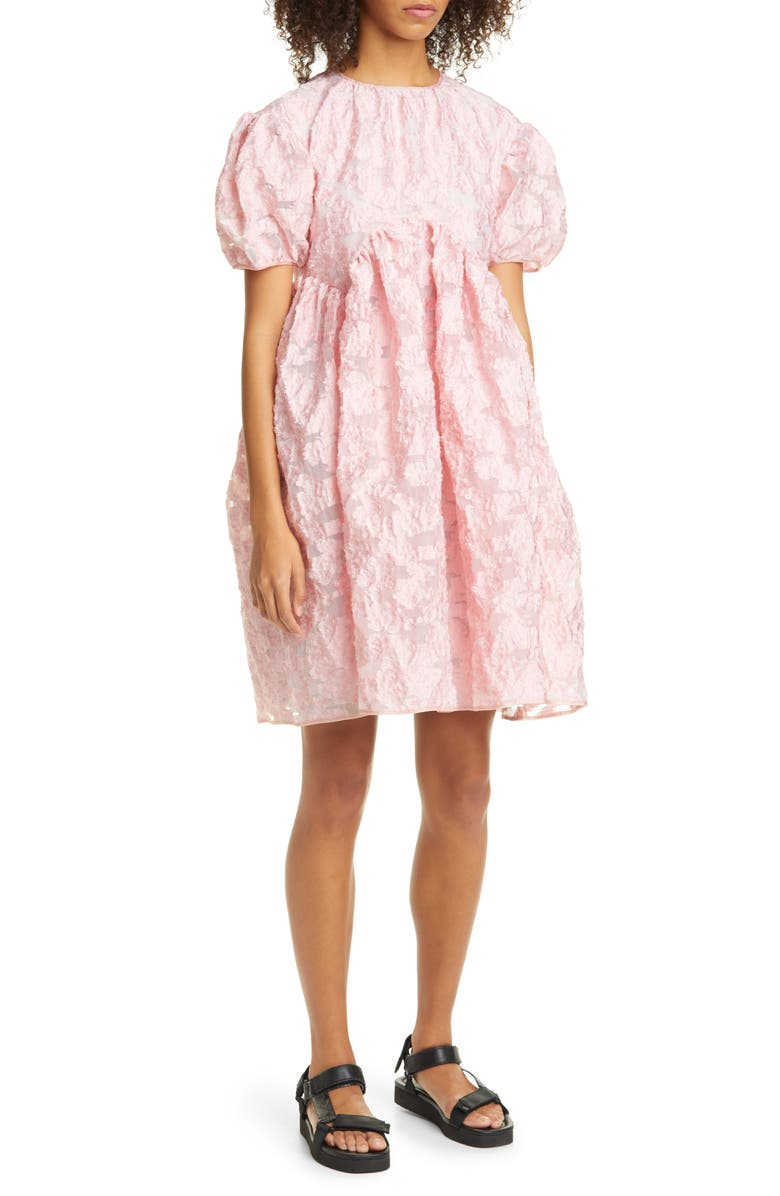 CECILIE BAHNSEN Thelma Floral Fil Coupé Organza Babydoll Dress, Main, color, LIGHT PINK