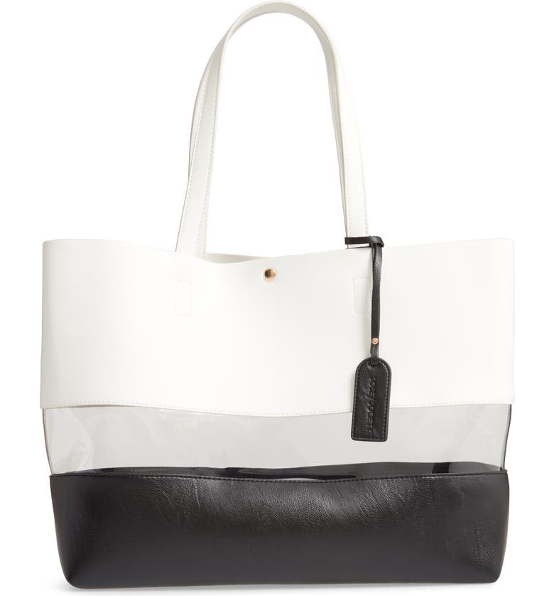 SOLE SOCIETY Eada Faux Leather Tote, Main, color, WHITE COMBO