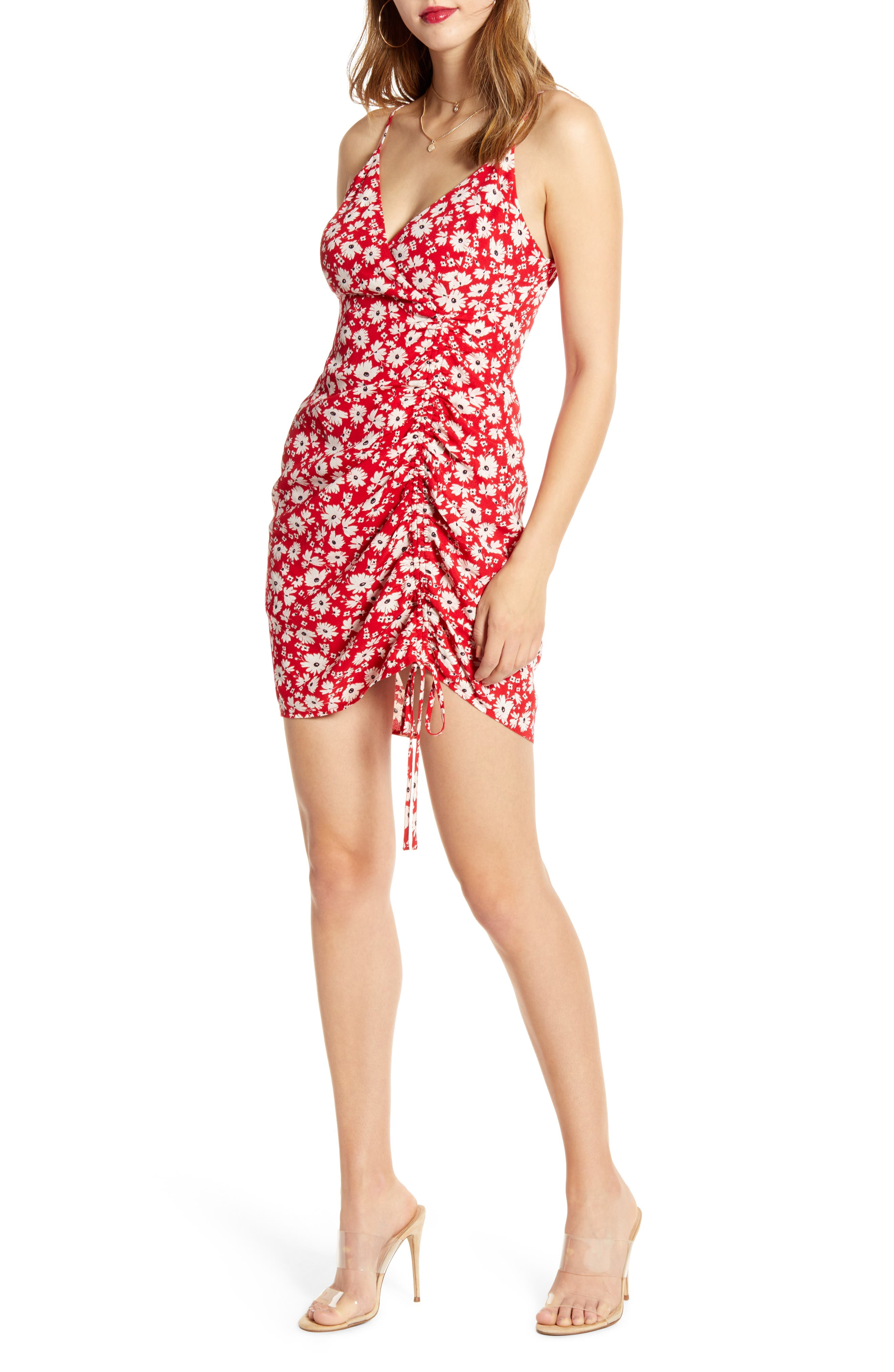 J.o.a. Sleeveless Front Ruched Minidress, Red